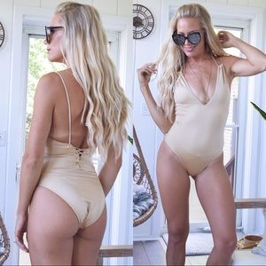 Taupe gold one piece swimsuit